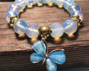 Sri Lanka Moonstone, Moonstone Bracelet, Stretch Bracelet, Boho, Boho Bracelet, White Bracelet