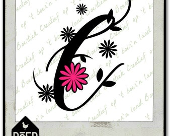 Letter C with flower, SVG/Studio/PDF/JPG file, cutting file