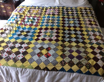 "Quilt top, hand stitched,  oule be made into a table cloth too.  Very bright yellow.  86""x 68"" all cotton"