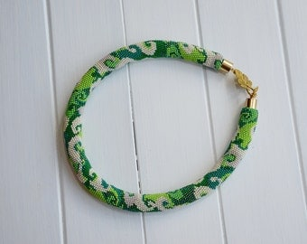 Beaded Necklace  50 shades of green
