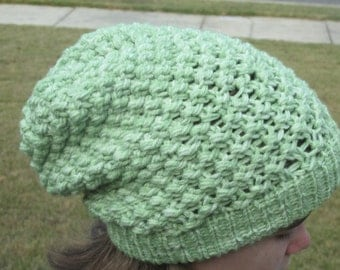 Fun, slouchy hat in lime green. Great for keeping you warm.