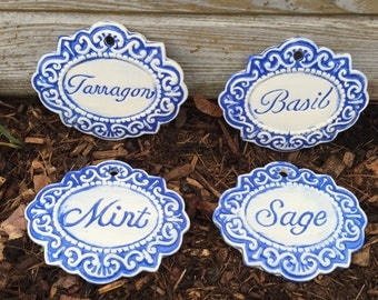 Herb Garden Marker, Garden Marker, Victorian Garden Marker, Herb Marker, Ceramic, Markers for Garden