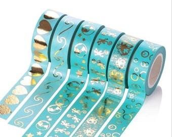 Beautiful Blue Washi Tape, Gold Foil Washi, Turquoise Washi, Decorative Washi, Metallic Washi