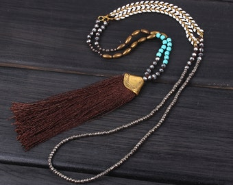 4mm crystgal beads New stylish design brown tassel metal sweater beaded necklace