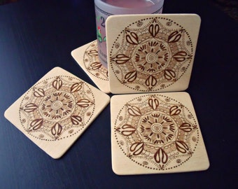 Wooden mandala coasters - Set of 4 - Woodburned patterned coasters - Pyrography coasters-Home warming gift