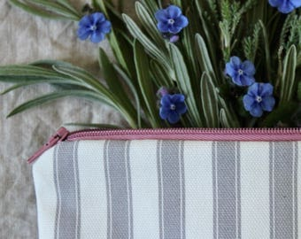 Annie sloan fabric bag//Make up bag// cosmetic pouch//Grey ticking stripe fabric zip up pouch