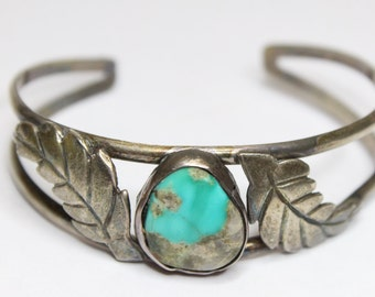 Vintage 1940's Turquoise Cuff Bracelet 6 Inch 925 Sterling Silver