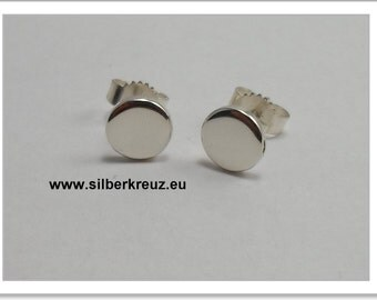 Stud earrings. Point. - Silver 925 6mm polished (O-1044)