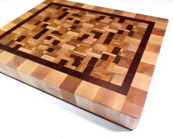 Chaotic Pattern End Grain Cutting Board. Different hardwoods endgrain butcher block. Perfect gift!
