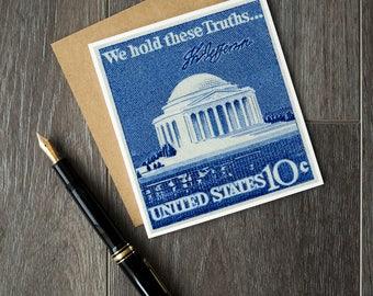 Thomas Jefferson, Jefferson Memorial, Washington Memorial, US president, US postage stamps, postage stamp art, vintage postage stamps