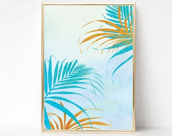 Blue Gold Tropical Leaf Printable, Palm Leaf Wall Decor, Palm Leaf Art Print, Watercolor Tropical Print, Palm Leaf Print, Tropical Decor