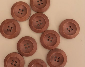 10 buttons 25mm wooden