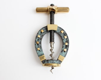 Mid Century/Brass/Horseshoe/Corkscrew/Hagenauer Design/Lucky Horseshoe/Tire Bouchon/Wine Opener/Bottle Opener/Brass Corkscrew/Cap Lifter
