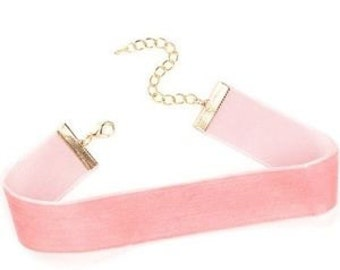 SALE!!!Velvet Pink Choker Necklaces with Pendant Charm