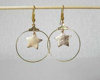 Gold hoops and gold leather star earrings