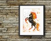 Nightmare Art Print, D&D Nightmare Poster, Dungeons and Dragons Art, Fantasy Art, Monster Watercolor Print, Dark Horse, Geek Art Print