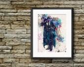 Drizzt Do'Urden Artwork, Watercolor Art, Forgotten Realms, D&D Poster, Modern Wall Art, Splatter Art Print, Fantasy Art, Giclee Print