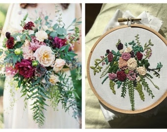 Customized Floral Bouquet - Embroidery Hoop Made based on your Wedding Bouquet