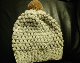 Slouchy Poof Hat in Oatmeal