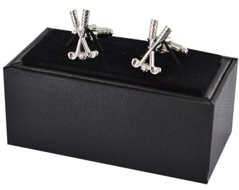 Golf cufflinks - Golfing Cuff Links - Laser Finish Cufflinks - Gift Box Included