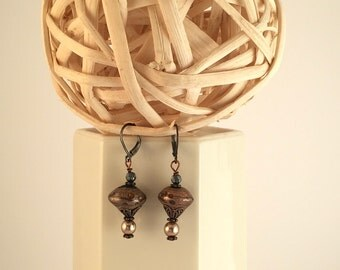 Amber hand made bead with Swarovski pearls