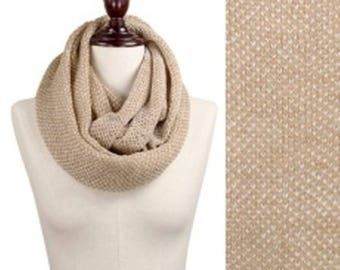 Light Two Tone Knitted Infinity Scarf