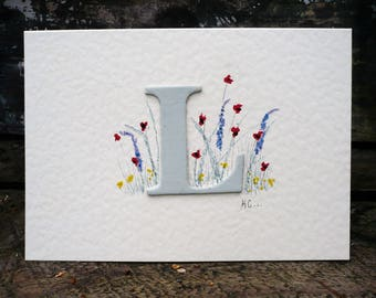 Personalised greetings card with hand painted meadow,handmade card x1