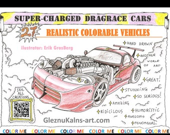 SuperCharged Dragrace Cars Coloring Book 27 Pages PDF Download