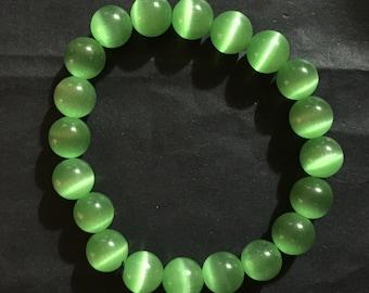 Brilliant Green Cat Eye Chrysoberly Stone Bracelet