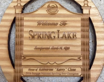 Welcome To Spring Lake Boardwalk Wood Ornament