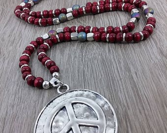 Long necklace, Bohemian style, symbol of peace, ethnic, tribal necklaces, wood, zinc alloy beads, summer, hippie, gypsy, ethnic fashion style