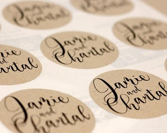 48 Personalised Wedding Favour Labels - 60mm Round - Cake Bag Stickers - Envelope Seals - 100% Recycled Kraft Paper