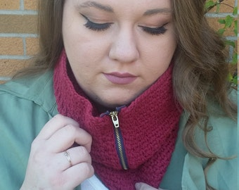 Crocheted, Zippered Cowl Scarf