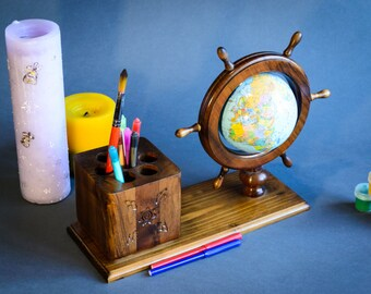 Wooden holder for pens. Pen holder set. Personalized holder. Pencil cup. Log pen holder. Desk organizer. Home office decor. Office supplies