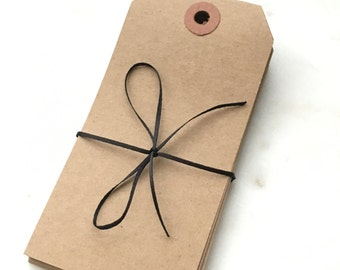 "Large Recycled Natural Brown Kraft Shipping Tags With Reinforced Hang Tags - 2 3/8"" X 4 3/4"" - Qty = 100"
