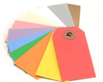 Mini Shipping Paper Tags - 1.375 x 2.75 - Pack of 50, shipping tags, tags, mini tags, gift tags, color shipping tags, color tags, stationary