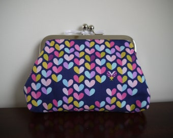 Heart and Ladybird Clasp Kisslock Purse Make Up Bag Ladybug Clutch Evening Bag Novelty Print Vintage Style