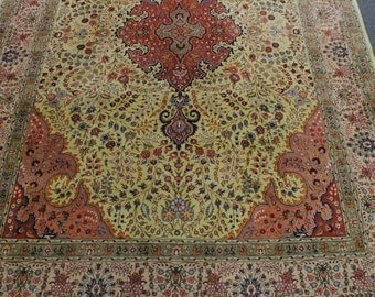 40% clearance rug Persian Tabriz 1980s fine weaving of rare light pistachio green color. DISCOUNT40 coupon code