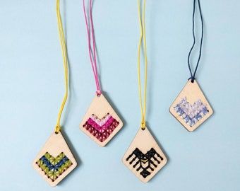 Wooden Stitched Necklaces