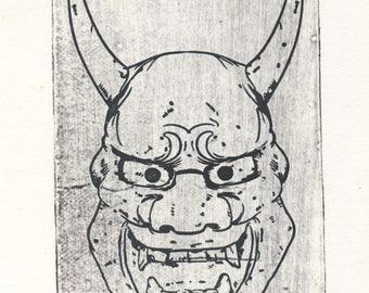 Engraving Japanese mask