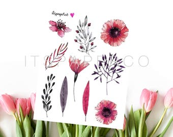 Vibrant Flowers - Bullet Journal Stickers - Planner Stickers - Decorative Stickers - WF020