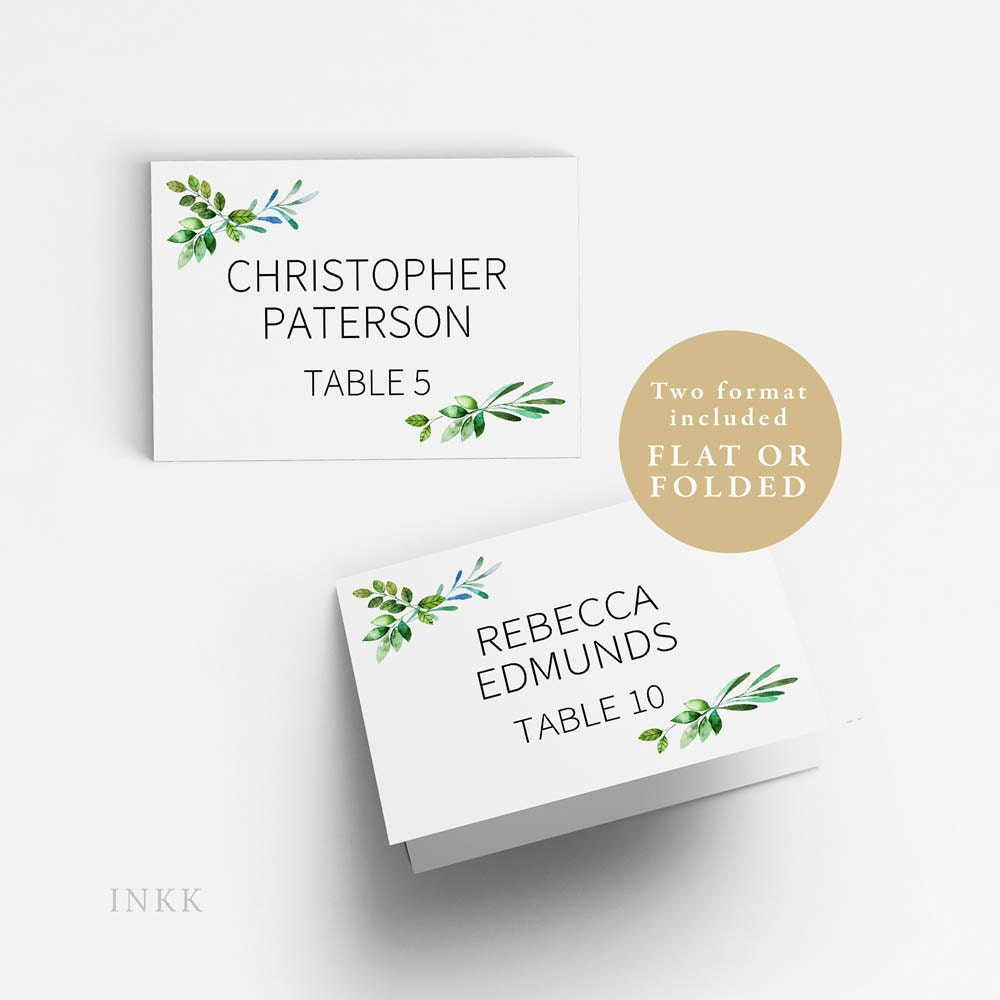 place card template wedding place cards printable flat or