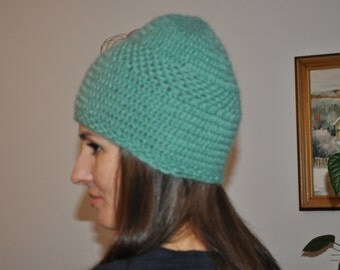 Winter crochet wool hat; Wool tuque; Knitted cloche hat - 0012