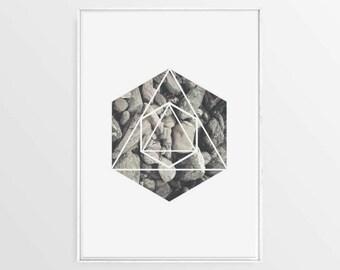 Geometric Scandinavian Art, Stones Poster, Hexagon Art Print, Coastal Wall Art, Geometric Nordic Wall Art, Nordic Posters, Grey Posters