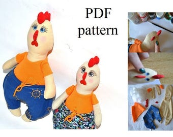 Rooster Toy Pattern PDF Rooster tutorial Sewing Pattern PDF Stuffed Toy Plush
