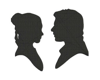 Princess Leia and Han Solo Embroidery Design - 4 sizes - 6 formats