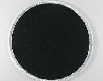"Black 3.5"" Inch Round Blank Patch With White Border"