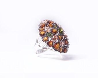 Ring silver, citrine, smoky quartz and peridot