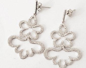 925 Silver earrings and zirconium