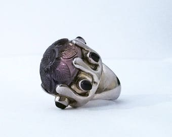 Big silver ring and etched ametrine